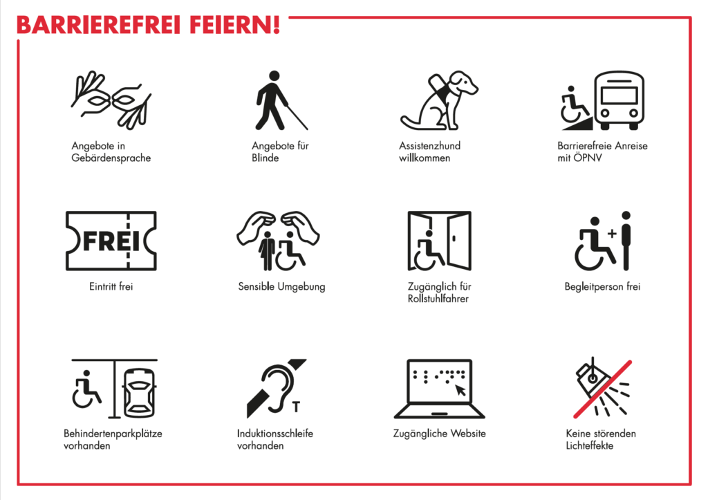 Hier sind die verschiedenen Icons zur Barrierefreiheit abgebildet. Zum Beispiel ein Symbol für Gebärdensprache oder für Angebote für Blinde