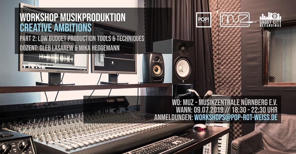 Titelbild des Workshops. Auf dem Bild ist ein MIschpult zu sehen und der Termin des Workshops 09.07. in der Musikzentrale Nürnberg