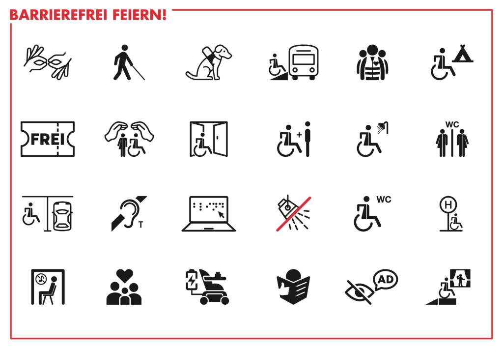 Icon Übersichttafel mit verschiedenen Symbolen zum Thema Barrierefreiheit. Beispielsweise ob Gebärdendolmetscher vorhanden sind, ob Assistenzhunde mit auf das Gelände dürfen oder ob Begleitpersonen kostenfrei die Veranstaltung besuchen können