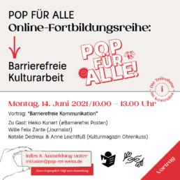 Online Fortbildung: Vortrag: Barrierefreie Kommunikation am 14. Juni von 10:00 Uhr bis 13:00 Uhr