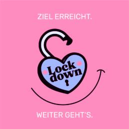Das Logo des Lockdown Lottos, ein geöffnetes Vorhängeschloss in Herzform