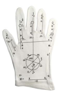 Ein Foto von einem Lormen-Handschuh. Auf dem Stoff sind die Linien und Punkte abgebildet, die man für die jeweiligen Buchstaben machen muss.